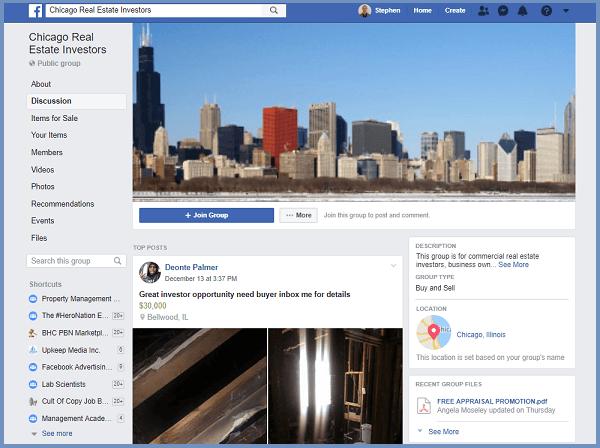 Chicago Real Estate Investor Group on Facebook