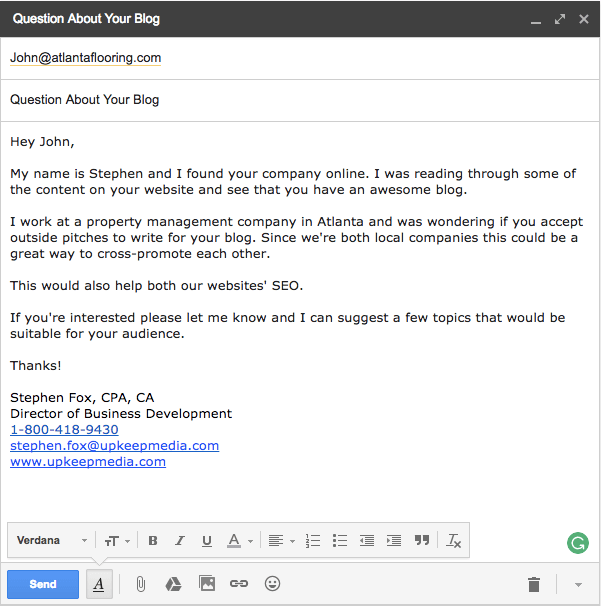 Email template for local seo