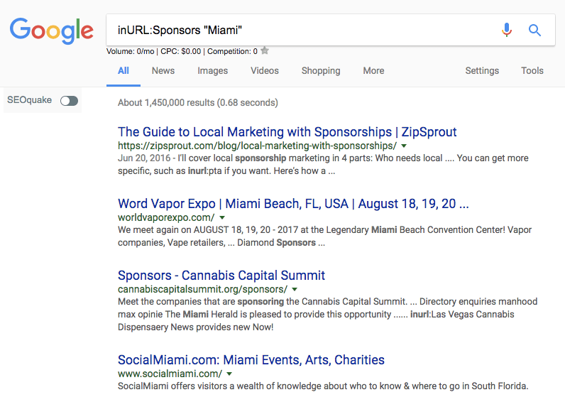 Local sponsorship search command
