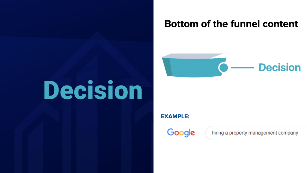 Decision Stage for Content Marketing Funnel