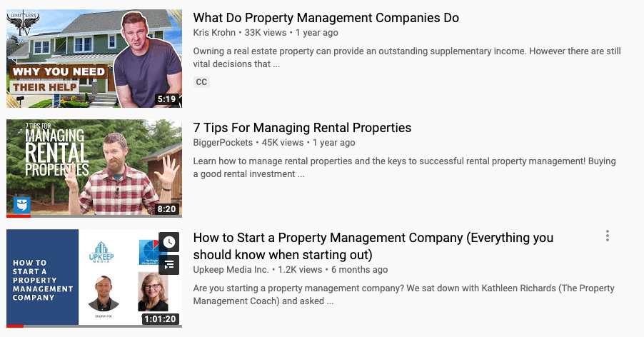 youtube videos for property managers