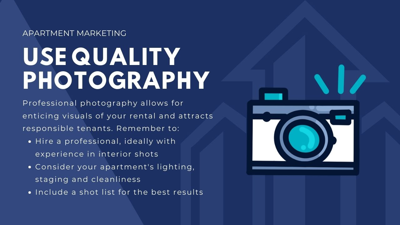 marketing for apartments - use quality photography